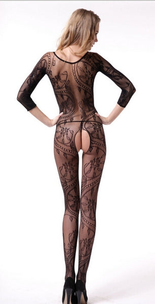 Buy ItspleaZure Swirl and Floral Lace Open Crotch Body Stocking for Rs. 699.00 at itspleaZure