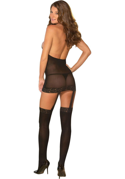 ItspleaZure Body Stocking ItspleaZure Titillating Black Babydoll with Stocking