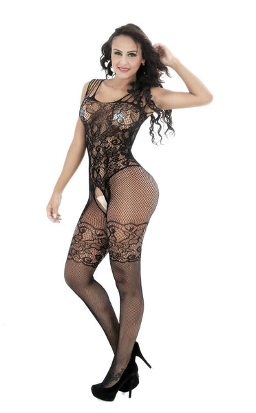 ItspleaZure Women's Black Crotchless Body Stockings & Free Thong for  at itspleaZure