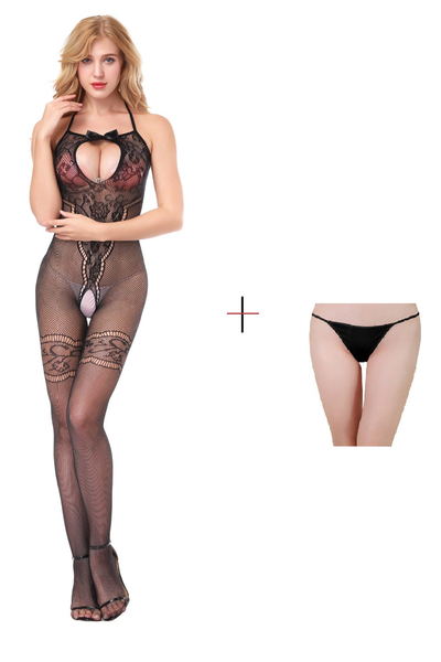 ItspleaZure Women's Body Stockings & Free Thong (Freesize_Q2MBS114_ARBT) for  at itspleaZure