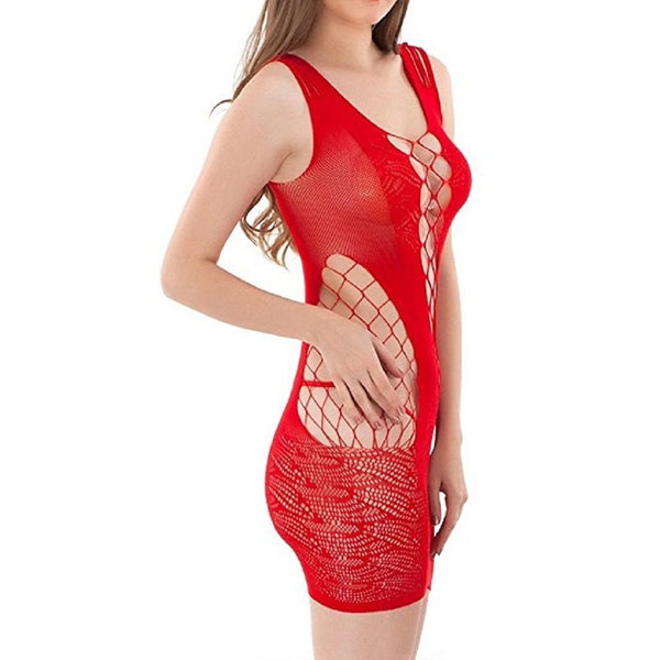 Buy ItspleaZure Women's Crotchet Mesh Hollow-out Mini Chemise Dress & Free Thong (Freesize_Q2MBS080RD_ARBT) for  at itspleaZure