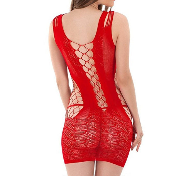 ItspleaZure Women's Crotchet Mesh Hollow-out Mini Chemise Dress & Free Thong (Freesize_Q2MBS080RD_ARBT) for  at itspleaZure