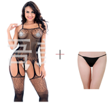 ItspleaZure Women's Crotchless Fishnet Hollow Bodysuits Tights Lingerie Bodystocking & Free Thong (Freesize_Q2MBS071BC_ARBT) for  at itspleaZure