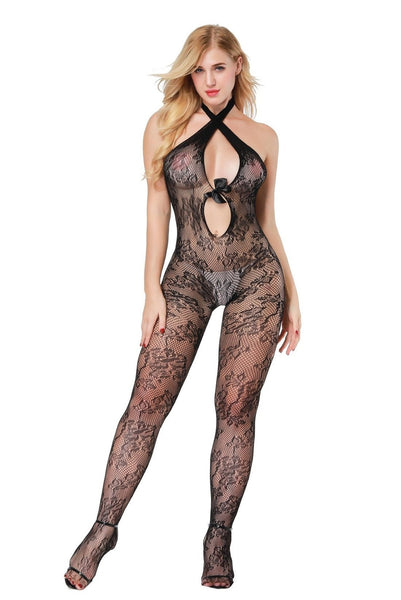 ItspleaZure Women's Halter Hollow Bodystockings & Free Thong (Freesize_Q2MBS113_ARBT) for  at itspleaZure