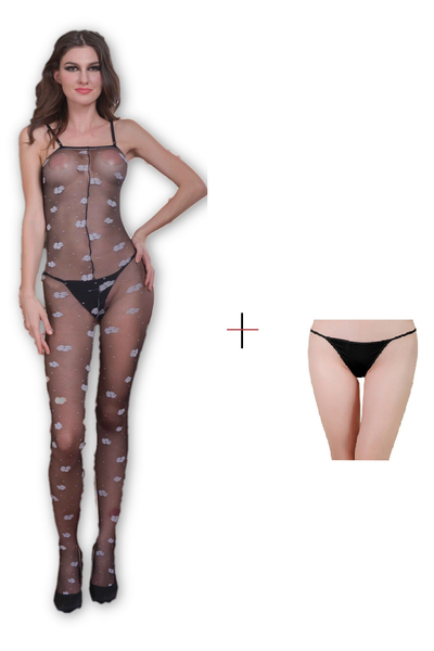 Buy ItspleaZure Women's hollow printed body stockings & Free Thong (Freesize_Q2MBS121_ARBT) for  at itspleaZure