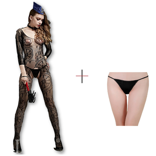 Buy ItspleaZure Women's Spiral Lace Off Long Sleeve Body Stocking & Free Thong (Freesize_Q2MBS068BC_ARBT) for Rs. 599.00 at itspleaZure