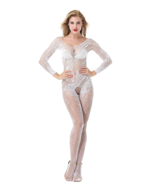 ItspleaZure Women's Spiral Lace Off Long Sleeve Body Stocking & Free Thong (Freesize_Q2MBS068WH_ARBT) for  at itspleaZure