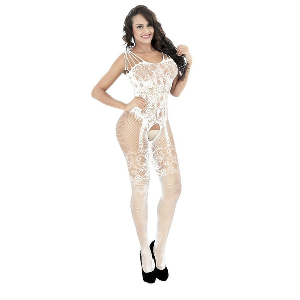 ItspleaZure Women's White Crotchless Bodystocking & Free Thong for  at itspleaZure