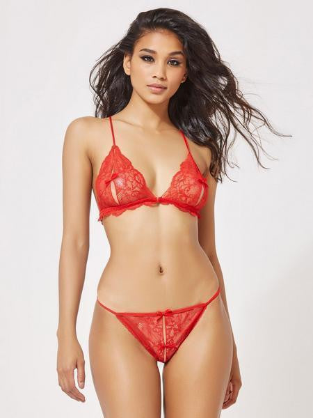 ItspleaZure Lace Open Bra Crotchless Thong Bikini Set -Red for  at itspleaZure