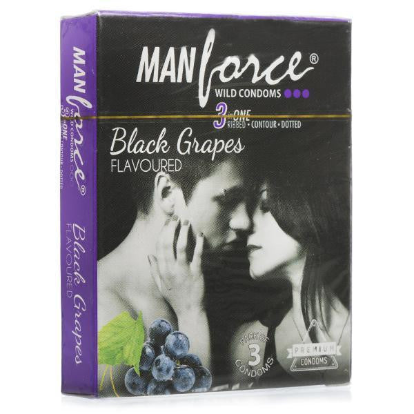 ManForce 3 in 1 Black Grapes Flavoured Pack Of 3 Condoms for  at itspleaZure