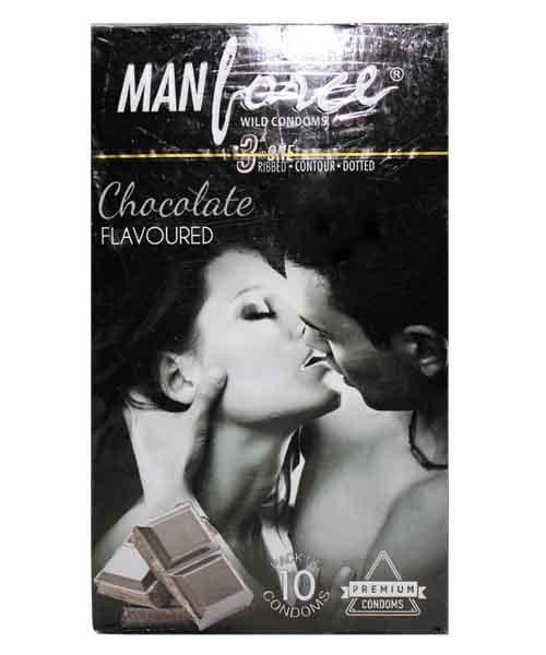 ManForce 3 in 1 Chocolate Flavoured Pack of 10 Condoms for  at itspleaZure
