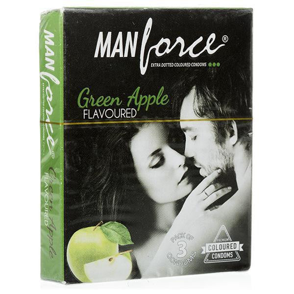 Buy ManForce Extra Dotted Green Apple Flavoured Pack of 3 Condoms for  at itspleaZure