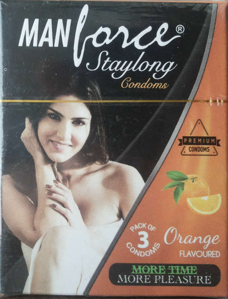 Manforce Stay long Orange Flavoured Pack of 3 Condoms for  at itspleaZure