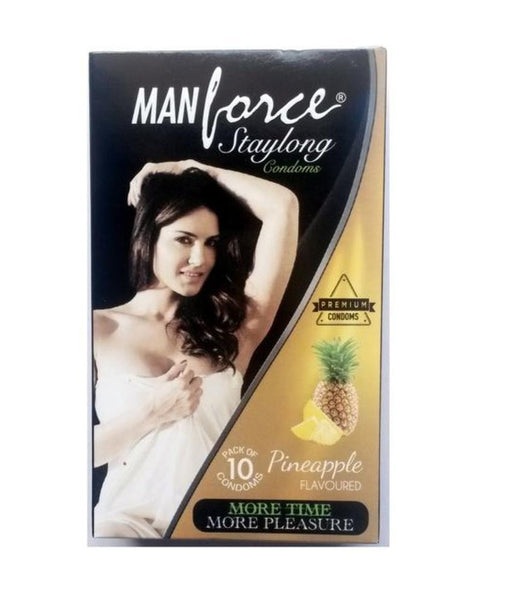 ItspleaZure Condom ManForce Stay Long Pineapple Flavoured Pack of 10 Condoms.
