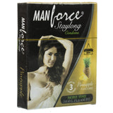 ItspleaZure Condom ManForce Stay Long Pineapple Flavoured Pack of 3 Condoms