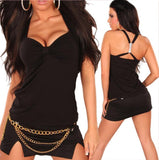 ItspleaZure Dress ItspleaZure Black Sexy Top Winners Top With White Buckle