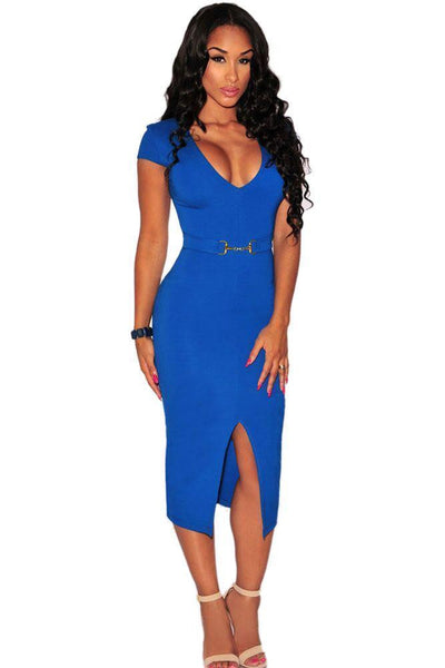 ItspleaZure Blue Belted Front Slit Midi Dress for  at itspleaZure
