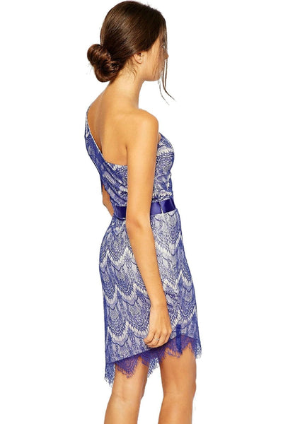 ItspleaZure Dress ItspleaZure Blue One Shoulder Lace Party Dress