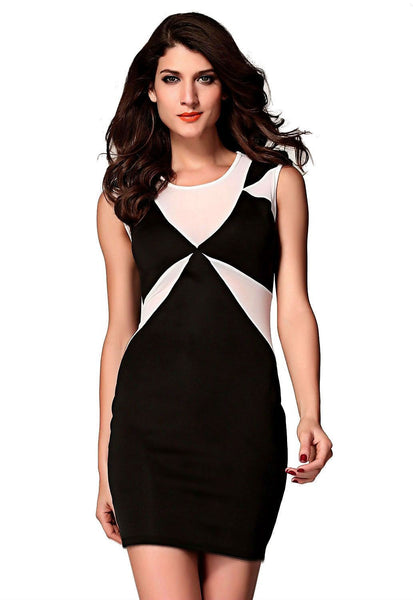 ItspleaZure Classic Black Geometrical Bodycon Dress for  at itspleaZure