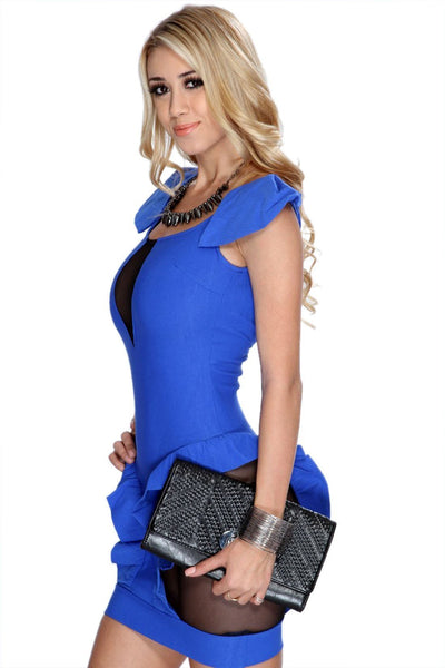 Buy ItspleaZure Cutout Mesh Backless Sexy Blue Club Dress for  at itspleaZure