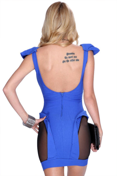 ItspleaZure Cutout Mesh Backless Sexy Blue Club Dress for  at itspleaZure