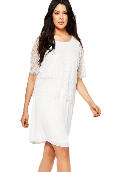 ItspleaZure Eyelash Lace Overlay Chiffon Swing White Dress for  at itspleaZure