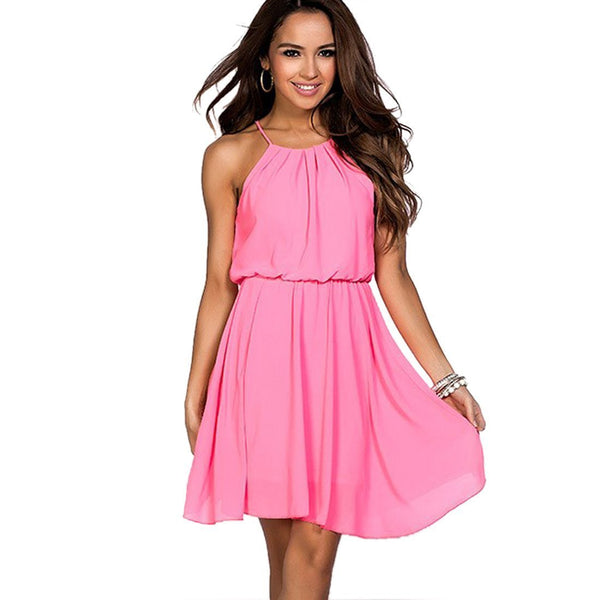 ItspleaZure Dress ItspleaZure Fit and Flare Draped Chiffon Neon Pink Dress