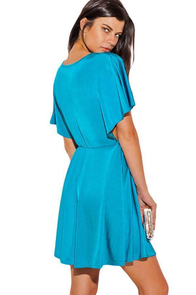 ItspleaZure Laceup Deep V Neck Turquoise Dress- for  at itspleaZure