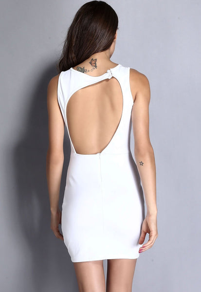 ItspleaZure Mesh Cutout Sleeveless White Mini Dress for  at itspleaZure
