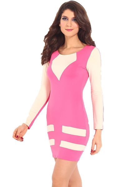 ItspleaZure Pink Flattering Bodycon Dress for  at itspleaZure