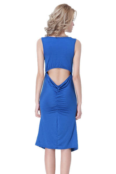 ItspleaZure Ruffles and High Slit Up Blue Dress for  at itspleaZure