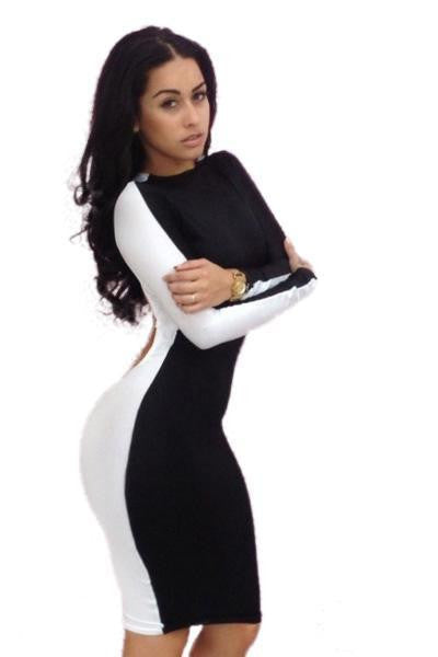 ItspleaZure Sexy Black White Club Bodycon Dress for  at itspleaZure