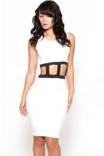 ItspleaZure Sexy Cutout Caged Waist Midi Dress for  at itspleaZure