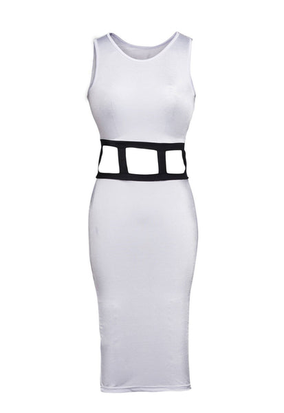 ItspleaZure Sexy Cutout Caged Waist Midi Dress at itspleaZure