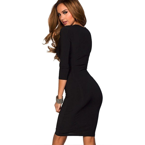 Buy ItspleaZure Sexy Deep V-neck Ruched Bodycon Dress for  at itspleaZure