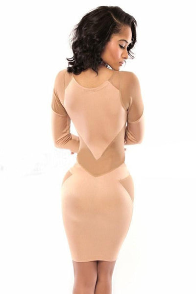 ItspleaZure Sexy Nude Splicing Bodycon Nude Mini Dress for  at itspleaZure