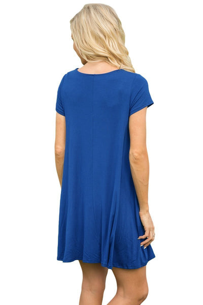 ItspleaZure Short Sleeve Flared Navy Blue Dress for  at itspleaZure