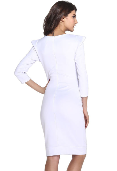 ItspleaZure Shrug Mesh Stitching White Midi Dress for  at itspleaZure