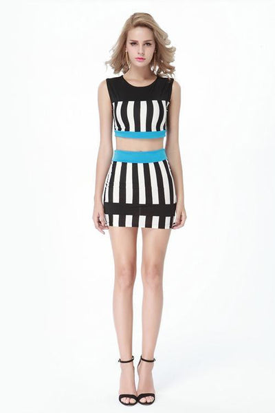 ItspleaZure Striped 2 Piece Bodycon Dress for  at itspleaZure