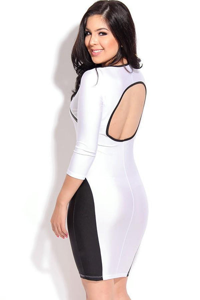 ItspleaZure Stylish Figure-flattering Accent Cut out White Bodycon Dress for  at itspleaZure
