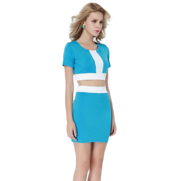 ItspleaZure White Blue Two-tone Bodycon Skirt Set for  at itspleaZure
