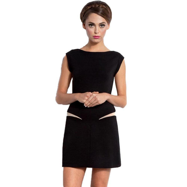 ItspleaZure Dress ItspleaZure Woman's Black Stretch Mesh Insert Mini Dress
