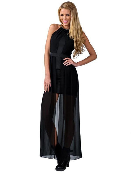 ItspleaZure Woman's Black Wrinkled Party Maxi Dress for  at itspleaZure
