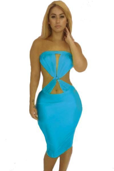ItspleaZure Woman's Lake Blue Bold Twist Front Midi Dress for  at itspleaZure