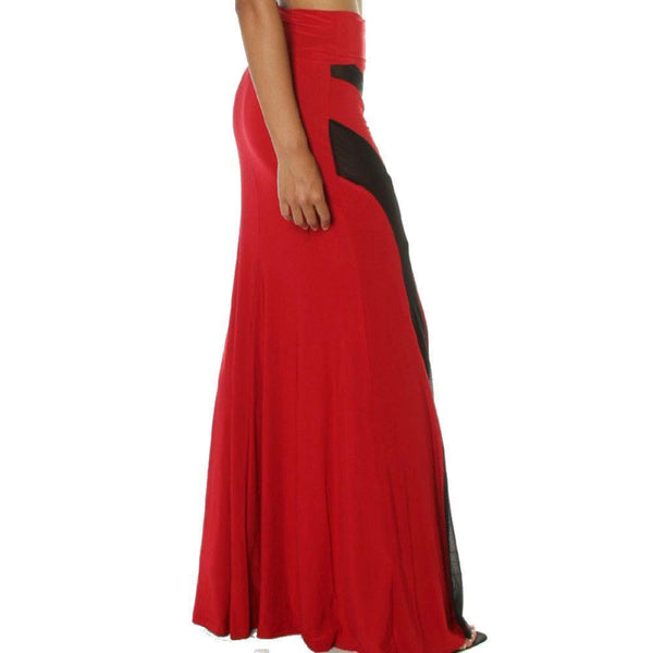 Buy ItspleaZure Woman's Red Strapless Mesh Insert Convertible Maxi Dress for  at itspleaZure