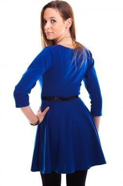 ItspleaZure Woman's Royal Blue Plain Belted Skater Dress for  at itspleaZure
