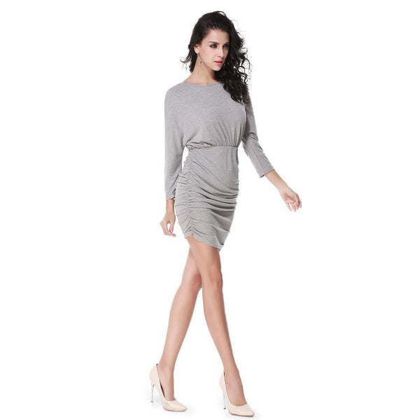ItspleaZure Women's Grey Bats Sleeve Ruffle Open Back One Piece Dress for  at itspleaZure