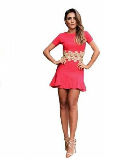 ItspleaZure Women's Pink Short Sleeves O-neck Sexy Lace Above Knee Girl Dress for  at itspleaZure