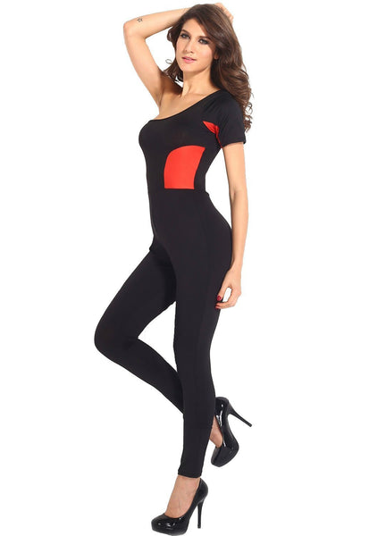 ItspleaZure Red Block Stitching One-shoulder Jumpsuit for  at itspleaZure