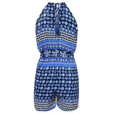 ItspleaZure Women's Blue Key Hole Short Jumpsuit No Sleeves Spaghetti Straps for  at itspleaZure